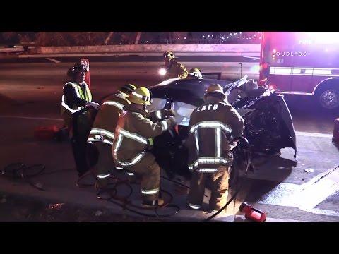 Two Car Traffic Collision SB 110 / Los Angeles  RAW FOOTAGE