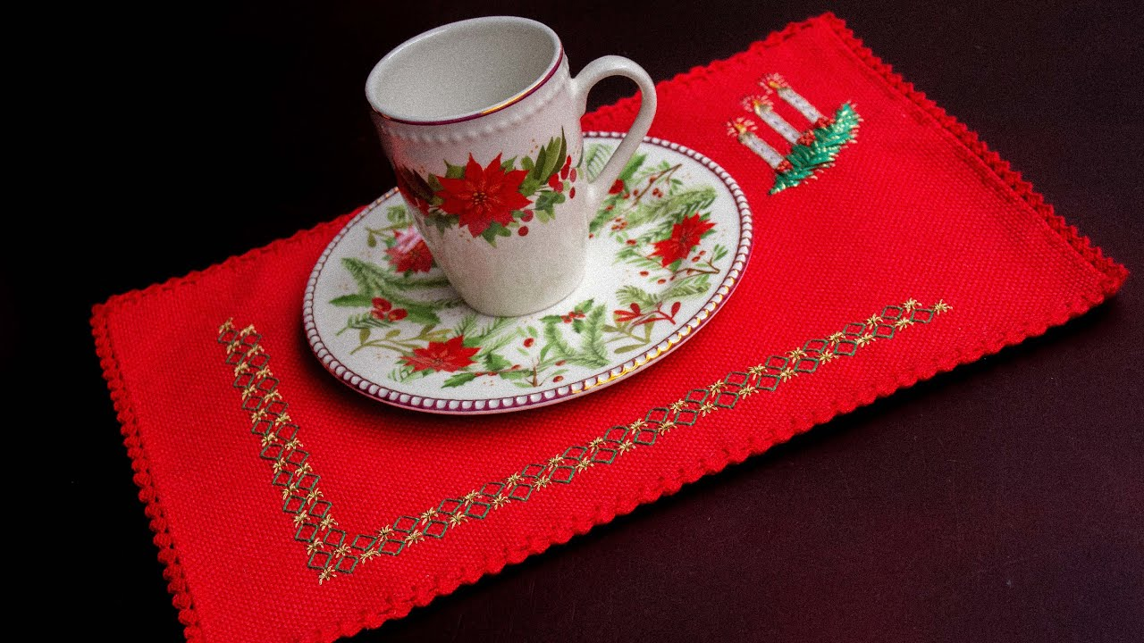 Hermosos Individuales Navideños bordados a mano:Bordado español, bordado en cintas y orillo a croché
