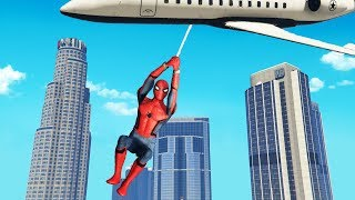 Can Spiderman Use His Web To Pull Down Planes? (GTA 5 Mods)