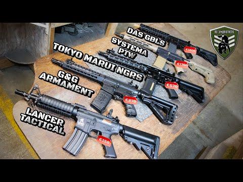 aeg-range-&-grouping-testing---das-gbls-vs-systema-ptw-vs-tokyo-marui-ngrs-vs-g&g-vs-lancer-tactical