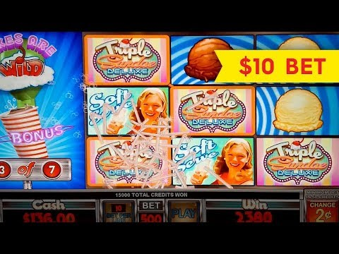 Triple Sundae Deluxe Slot Machine - $10 Max Bet Free Spins Big Win! - 동영상