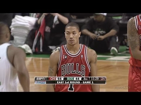 28eabe5f5fc0 Derrick Rose Full Highlights 2009 Playoffs R1G1 at Celtics - 36 Pts