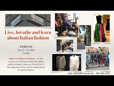 Study Abroad: Cañada College Fash 114 - Intro to Italian Fashion