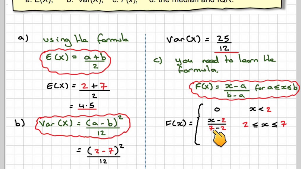Finding Mean Variance Cdf Median And Interquartile Range For A