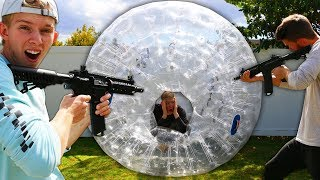 Shoot the Person Hiding in the Rolling SHIELD!! (ZORB BALL)