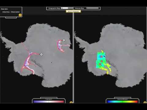 Interactive Visualization of continent-wide Antarctic ice streams