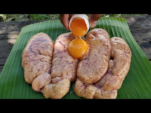 Fish Egg Cooking With Duck Egg | Fish Egg Mixed Fish Past So Yummy | Grilled Fish Egg Recipe