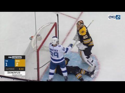 Tuukka Rask Attacks Cory Conacher in Goal Mouth Huge Line Fight Ensues Lightning vs Bruins
