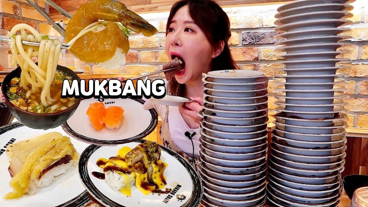 회전초밥 털기🔥가볍게 먹으러 갔는데.. 조용히 초밥 50접시 먹고 왔습니다!!!!🤫50 Plates of Sushi OUTDOOR MUKBANG