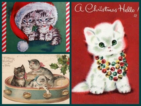 Cute Vintage New Year cards with Cats and Kittens - Meowy Christmas and Happy New Year!