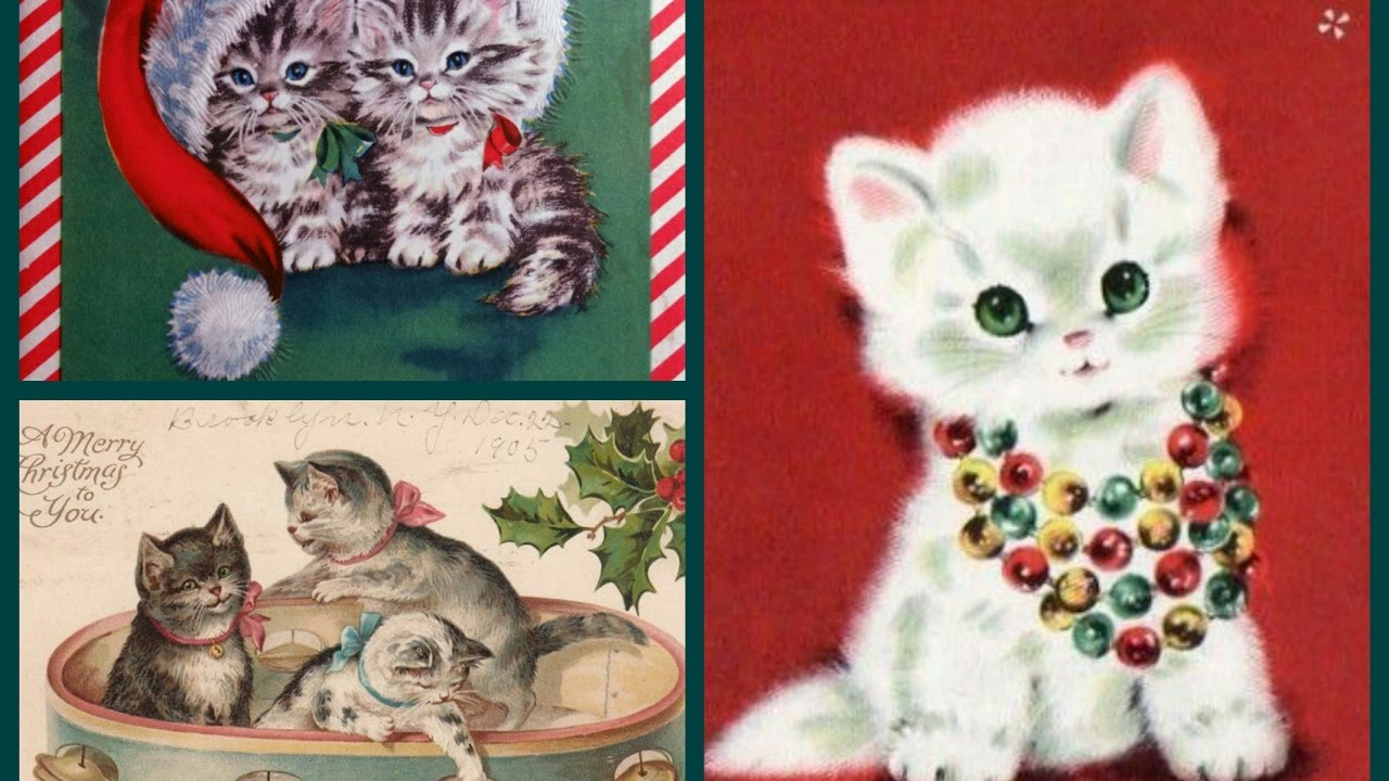 cute vintage new year cards with cats and kittens meowy christmas and happy new year