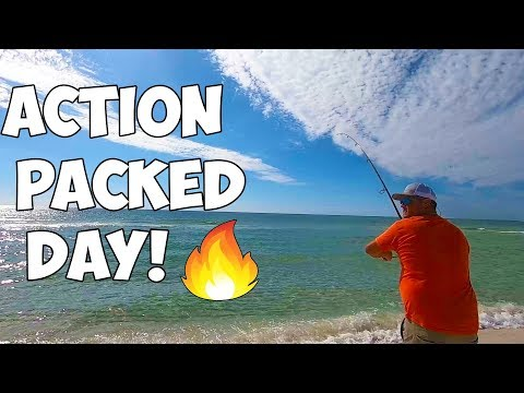 ACTION PACKED Surf Fishing Trip With Multiple Species Caught! Pensacola Beach Fishing