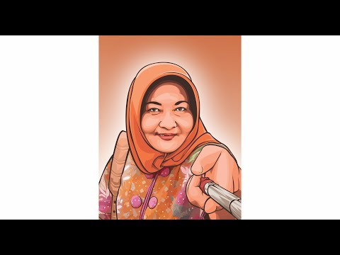 how to draw vector in coreldraw | old woman with selfie stick