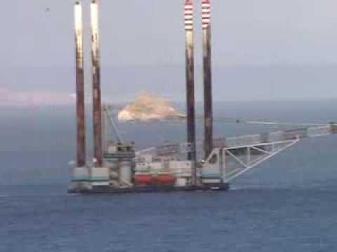 Jack-Up Barge Platform JB115 Leaving Torbay - Timelapse