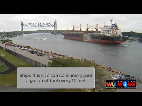 CHINESE CARGO SHIP TRANSITS THE CAPE COD CANAL JULY 14 2017
