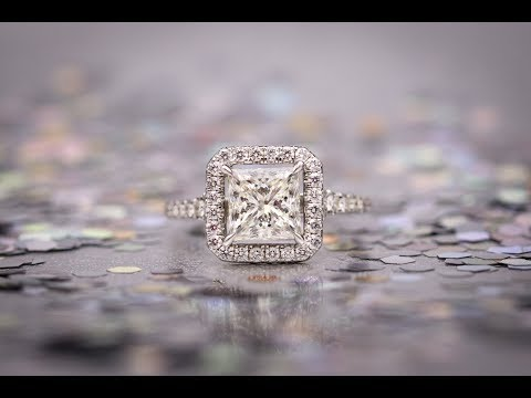 Princess Cut Halo Matching Wedding Ring