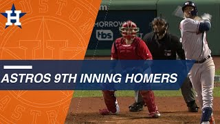 Astros pad lead in 9th with 2 homers in ALCS Game 1