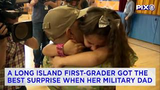 Military dad surprises daughter at Long Island elementary school