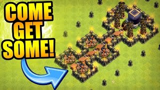 Clash Of Clans - THE ULTIMATE TROLL BASE TRAP!!! - MAX LEVEL MINER FAIL!!