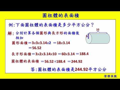 圓柱體的表面積 六年級數學 (Grade 6 math - Surface area of a cylinder.) - YouTube