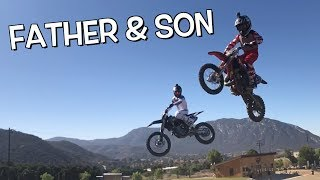 father-9-year-old-son-jumping-dirt-bikes