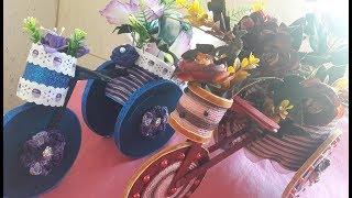 Bicicleta De Eva ( Com Papelão Rolinhos De Papel Higiênico Palito De Picolé E Linha De Cro