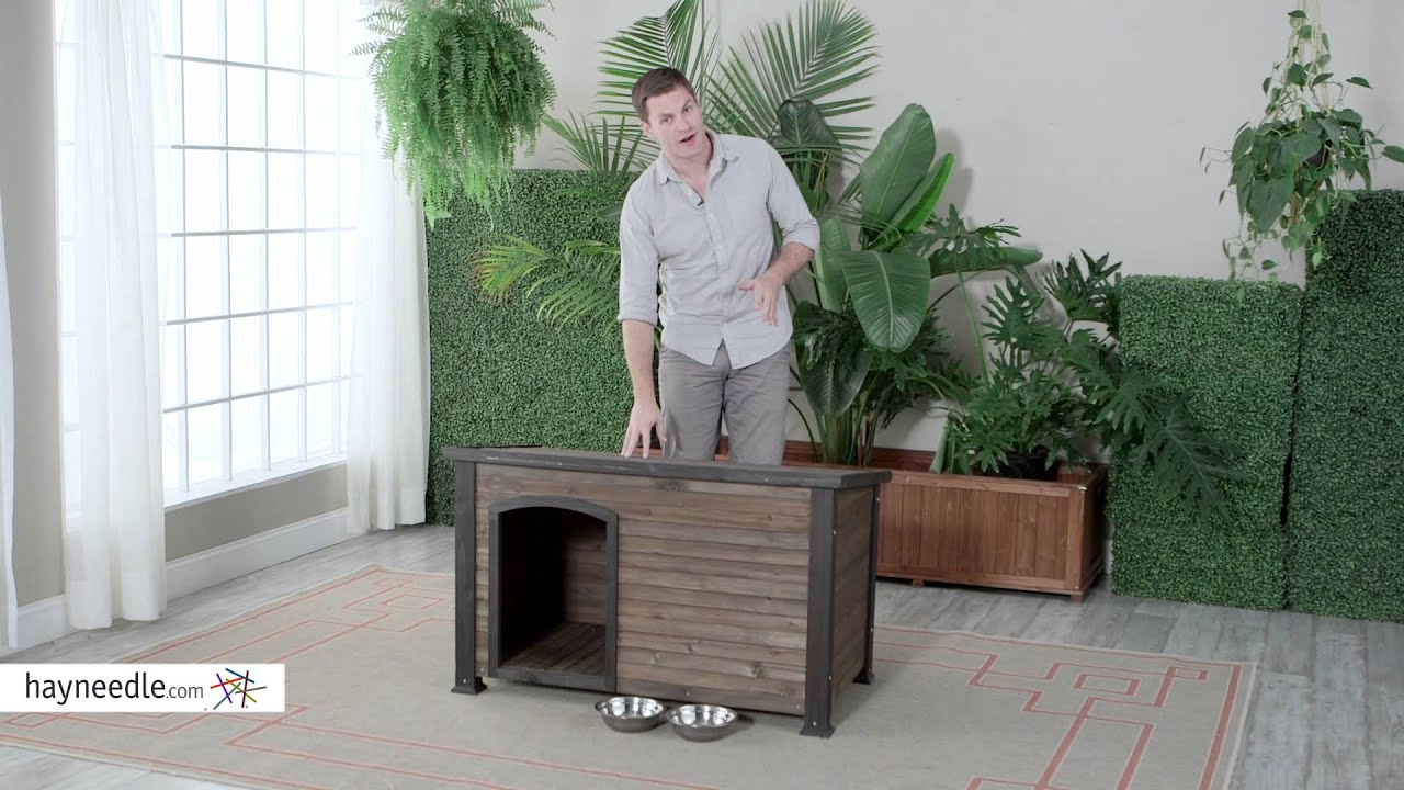 Boomer George Log Cabin Dog House With Stainless Steel Bowls Product Review Video
