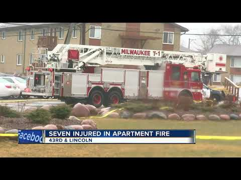7 injured as fire burns through apartment on Milwaukee's south side