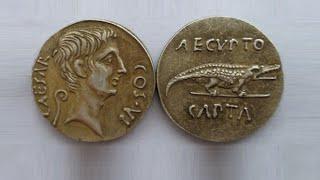 монета денарий Цезаря Октавиана