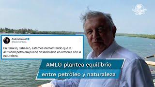 En un video subido a sus redes sociales y mostrando las lagunas de El Bellote, en Paraíso, Tabasco, el titular del Ejecutivo federal informó que se dirigía a la refinería de Dos Bocas