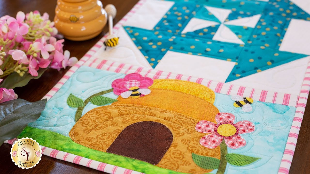 BEE HIVE AND FLOWERS Quilting Fabric Block 4 sizes skep floral