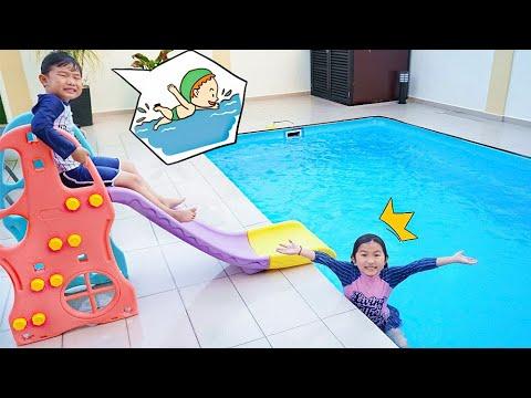 游泳池玩水!滑水道?親子短劇 ~ Kids Play At Swimming Pools!So Much Fun~