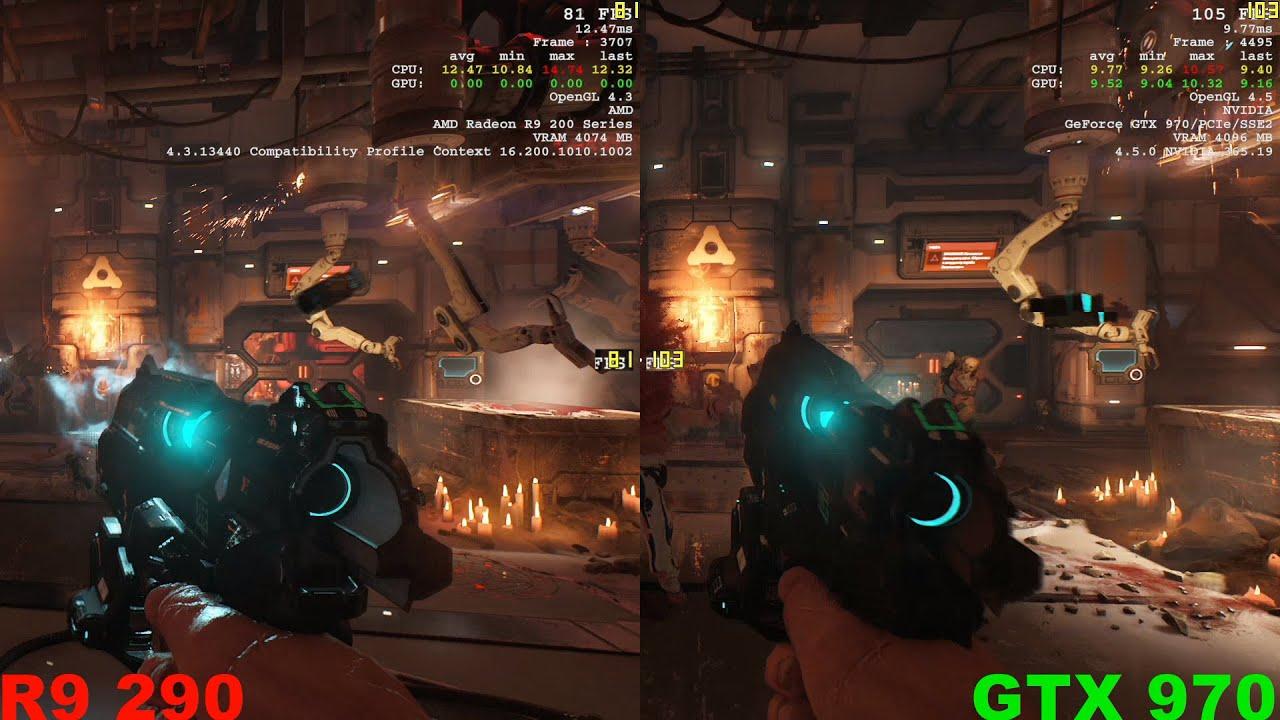 Тест: AMD Radeon R9 290 против NVIDIA GeForce GTX 970 в Doom.