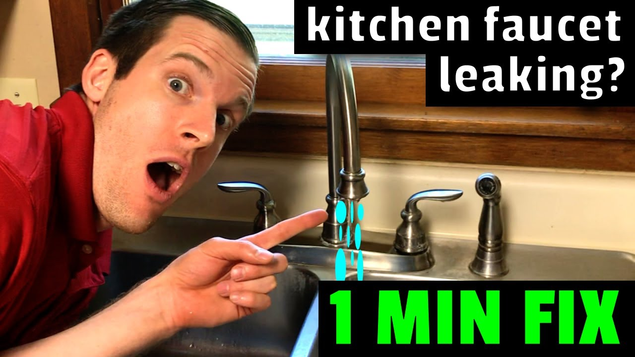 easy fix kitchen faucet leaking how to fix a leaky kitchen faucet in 1 minute