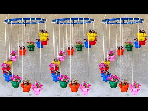 Beautiful Hanging Flower Garden with Bicycle Wheels | Vertical Hanging Flower Pots Garden thumbnail