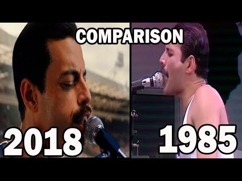 Queen vs. Bohemian Rhapsody movie (at Live aid 1985) Comparison