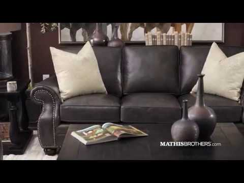 Nailhead-Accented Contemporary Leather Sofa in Charcoal