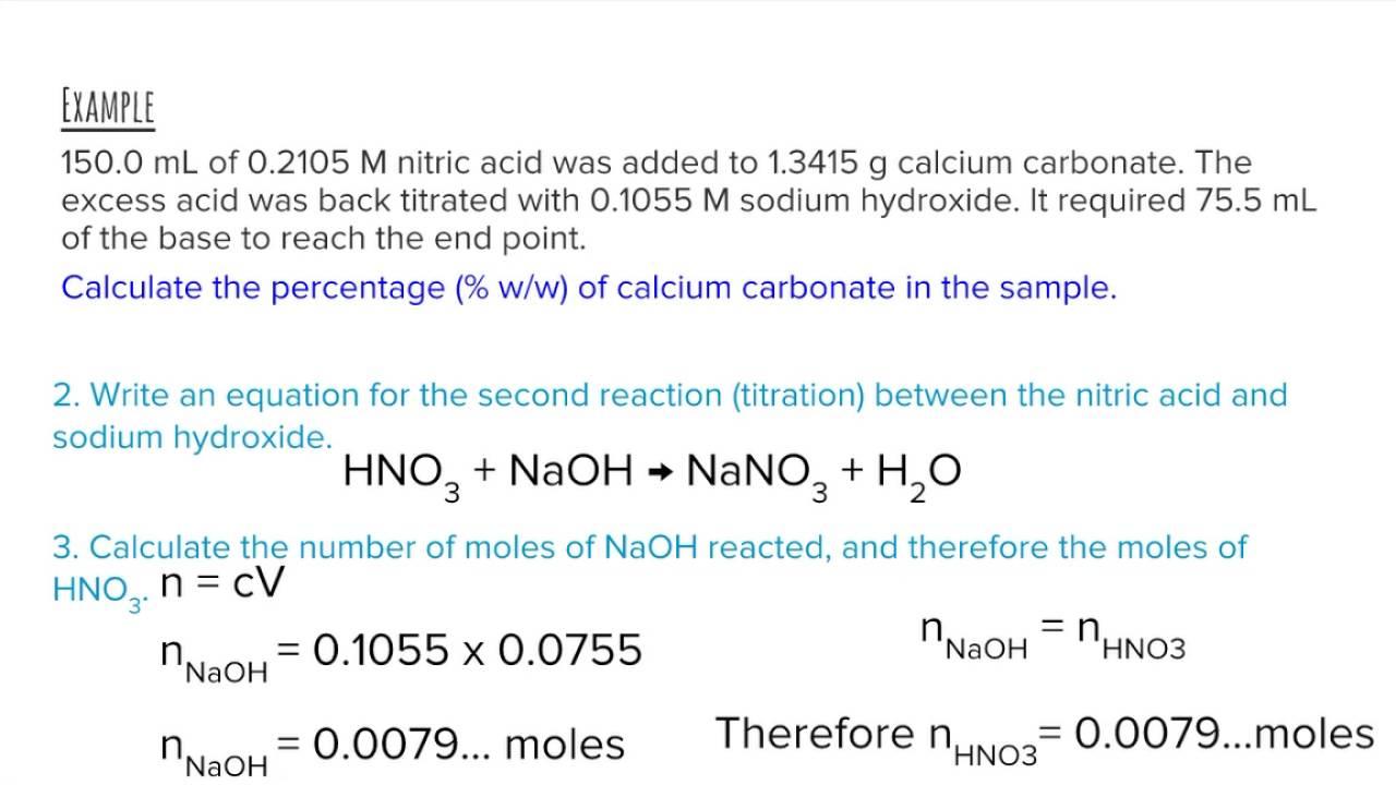 back titration calcium carbonate