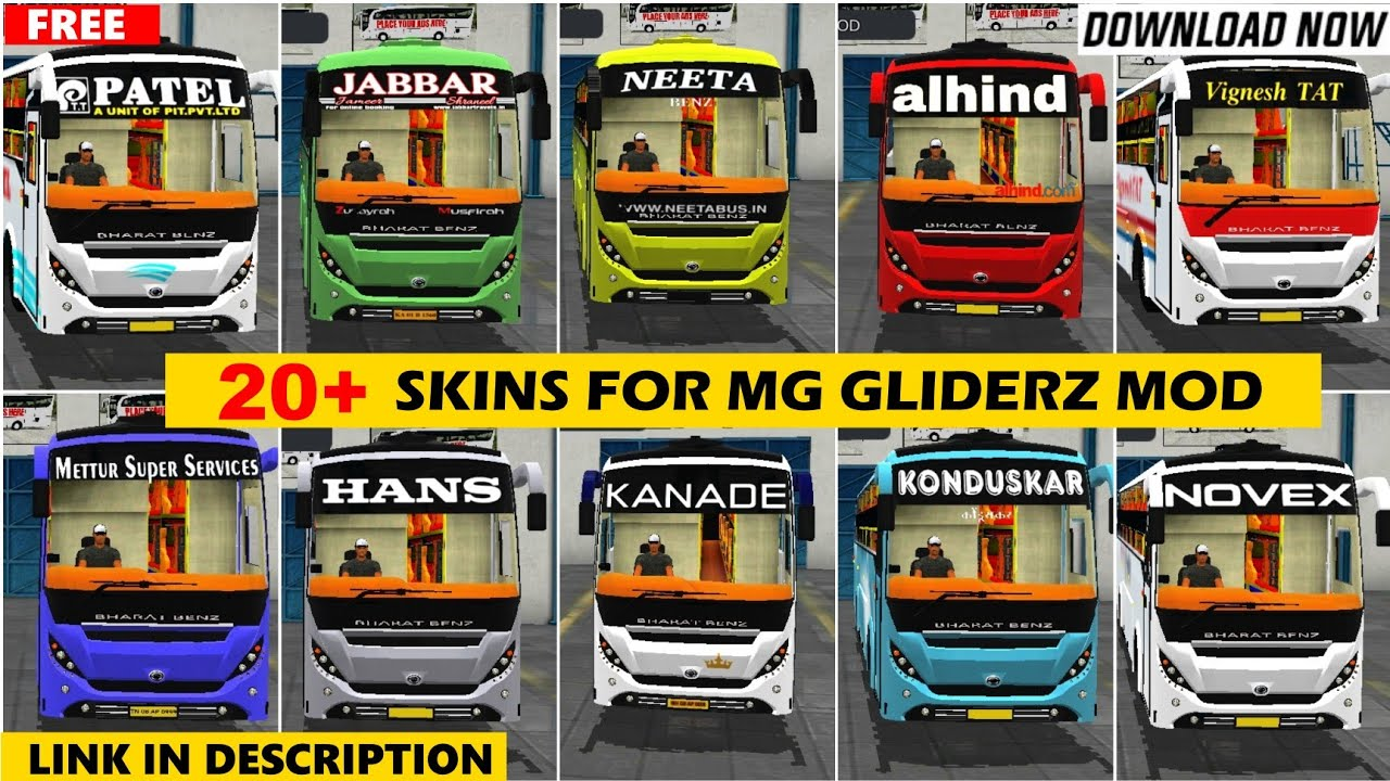 20+ INDIAN BUS SKINS FOR MG GLIDERZ MOD WITH LINK || MG GLIDERZ || BUS SIMULATOR INDONESIA#MggliderZ