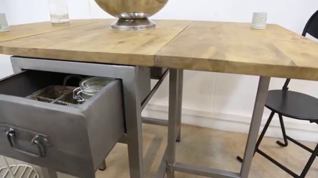 Table extensible design bois m tal youtube for Table extensible metal bois