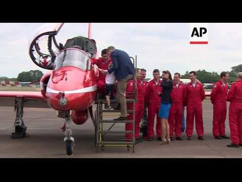 Duke and Duchess of Cambridge joined by Prince George at military air show
