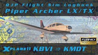 X-Plane 11 - Archer TX/LX - Beaver Falls to Harrisburg   Vatsim [Log 013]