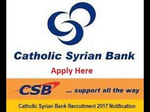 Catholic Syrian Bank Recruitment 2017, CSB Sales Executive Vacancy