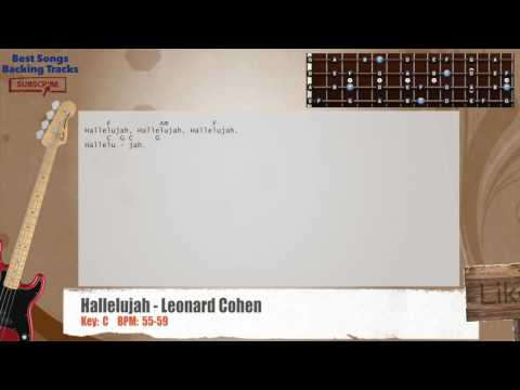 Hallelujah - Leonard Cohen Bass Backing Track with chords and lyrics