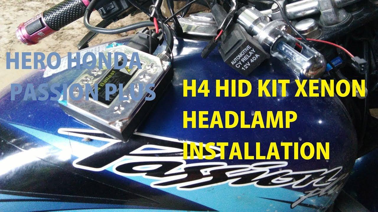 hid xenon kit headlight install in hero passion all bikes br09biker [ 1280 x 720 Pixel ]
