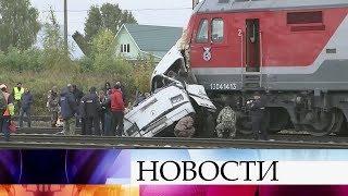 ВоВладимирской области автобус с пассажирами заглох напереезде истолкнулся споездом.