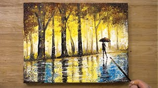 'The Rainy Day' Cotton Swabs Painting Technique #430