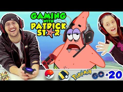 GAMING w/ PATRICK STAR!  FUNNIEST FGTEEV VIDEO! Pokemon Go Jokes #20 Gen1 Pokedex Spongebob Style