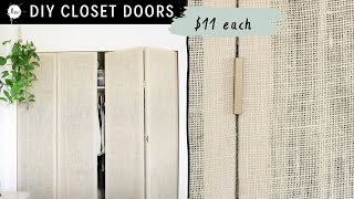 DIY Closet Doors! With FULL installation! Sheer Rattan Look Created With burlap!