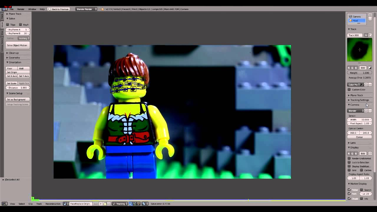 Lego Brickfilm Face Replacement Tutorial (blender Motion Tracking Tutorial)